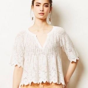 Meadow Rue Anthropologie Lace White Top
